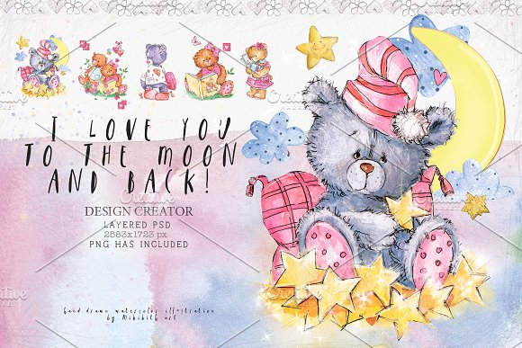 SO LOVELY BEARS+ 1 MOUSE :) in Illustrations - product preview 4
