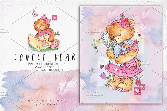 SO LOVELY BEARS+ 1 MOUSE :) in Illustrations - product preview 5