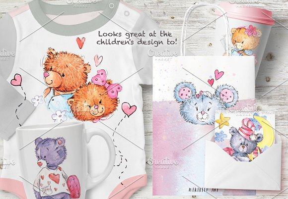 SO LOVELY BEARS+ 1 MOUSE :) in Illustrations - product preview 8