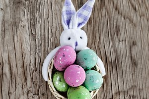 Closeup Of Easter Eggs With Bunny