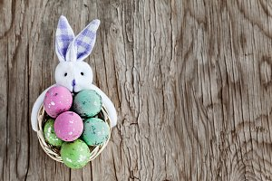 Straw Basket With Easter Eggs