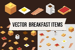 Isometric vector food + pattern