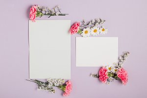 Violet Invitations with Pink Flowers