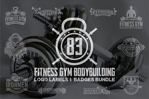 83 FITNESS GYM- BADGES -LOGOS BUNDLE