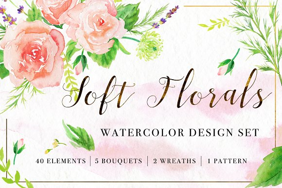 Floral Watercolor Bundle in Illustrations - product preview 5