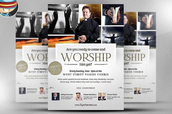 Worship Church Christian Flyer ~ Flyer Templates ~ Creative Market