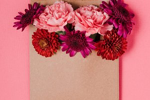 Pink and Red Bouquet in a Letter