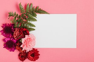 Pink Invitation with Red Flowers
