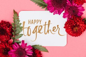 Happy Together Card with Red Flowers