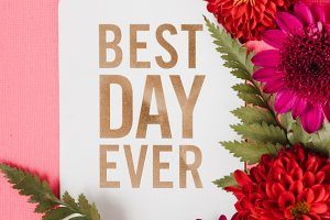Best Day Ever Card with Red Flowers