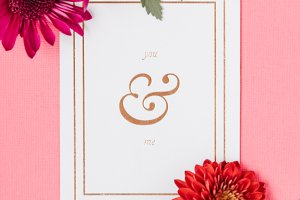 You & Me Card with Red Flowers