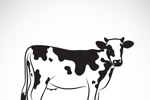 Vector of a cow on white background.