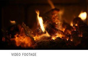 Burning firewood.