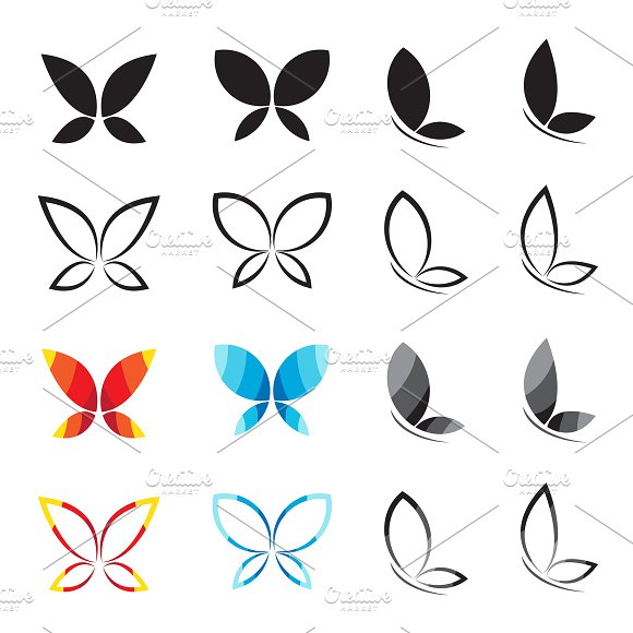 Vector Group Of Butterfly Insect