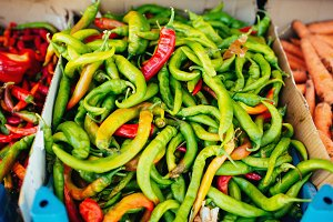 Green and Red Pepper at the Market