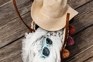 Straw Bag With Summer Accessories