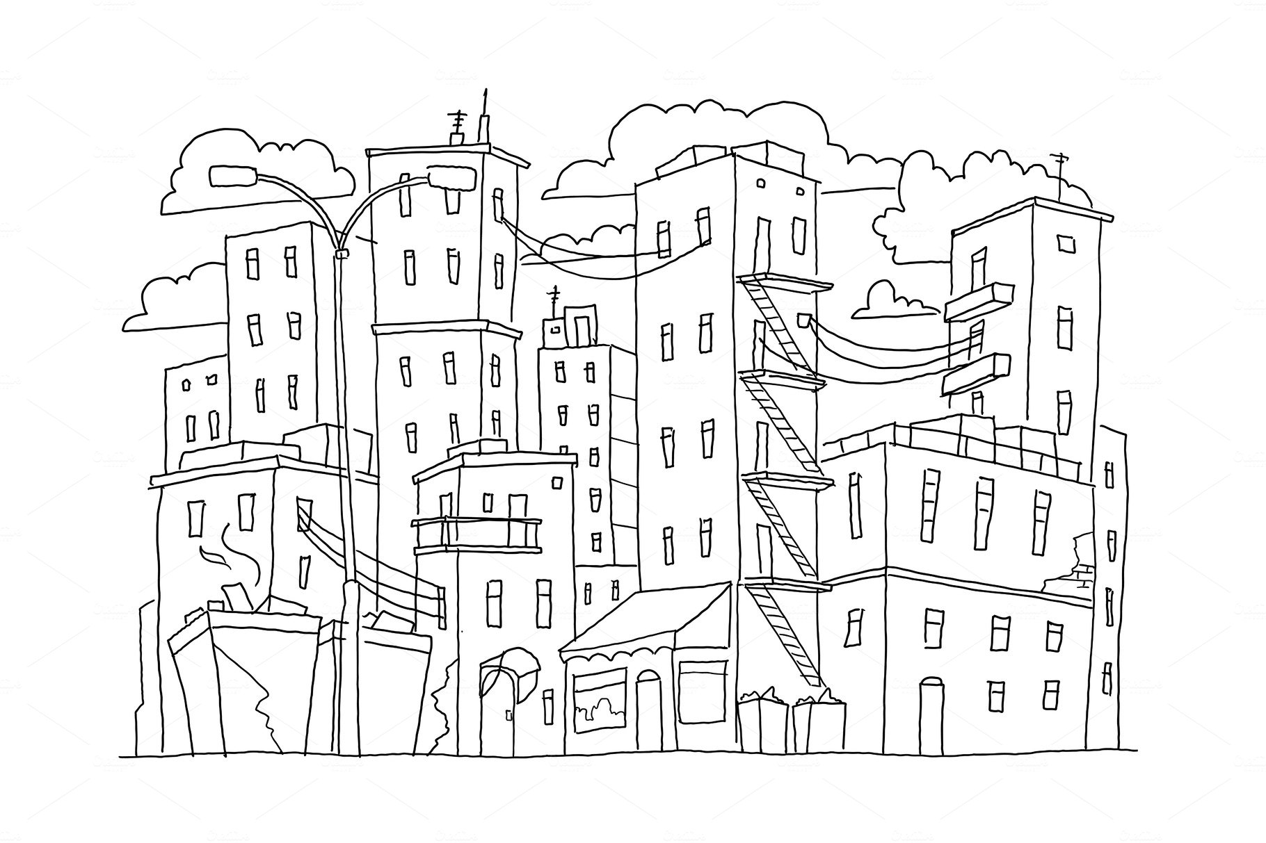 Old city buildings sketch town. Houses multistory outdoors