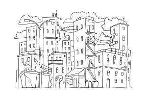 Old city buildings sketch town. Houses multistory outdoors street windows. Hand drawn black line