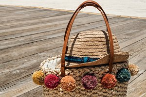 Summer Straw Bag At The Beach