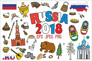 Russia 2018-symbols and infographics