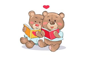 Teddy Bears Read Books with Heart Sign Vector