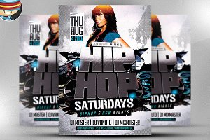 3D Hip Hop PSD Flyer Template