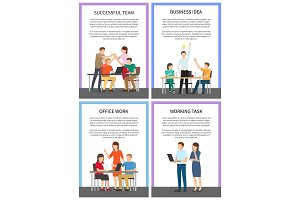 Successful Working Team Business Idea Banners