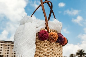 Summer Straw Bag With White Scarf
