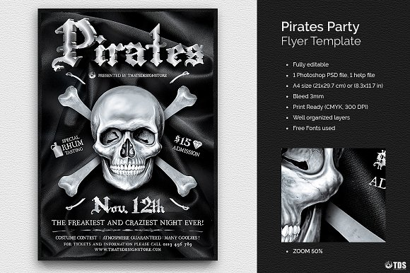 pirates party flyer template flyer templates creative market
