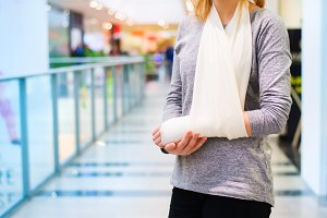 Woman with broken arm.