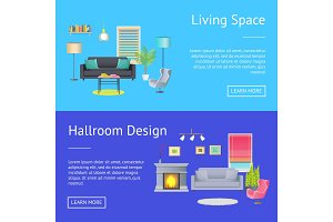 Living Space Hallroom Design Vector Illustration