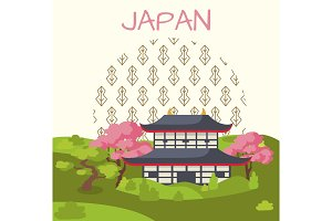Japan Promotional Poster with Traditional House