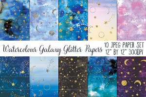 Watercolour Galaxy Glitter Papers