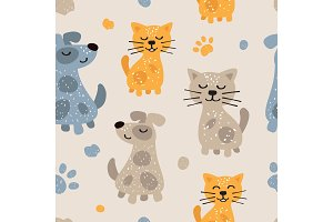 Childish seamless pattern with cute dogs and cats. Scandinavian style. Childish texture for fabric