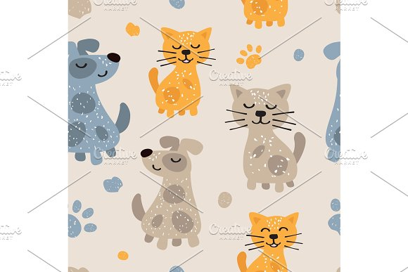 Childish Seamless Pattern With Cute Dogs And Cats Scandinavian Style Childish Texture For Fabric