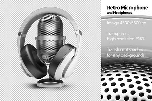 Retro Microphone and Headphones