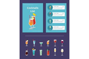 Cocktail List Advertisement Poster with Prices