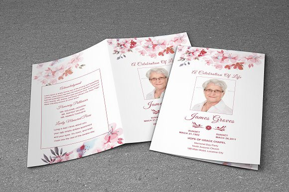 Flower funeral program template brochure templates creative market flower funeral program template brochures pronofoot35fo Image collections