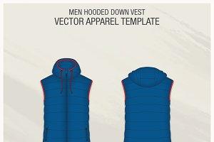 Men Hooded Down Vest Fashion Flat