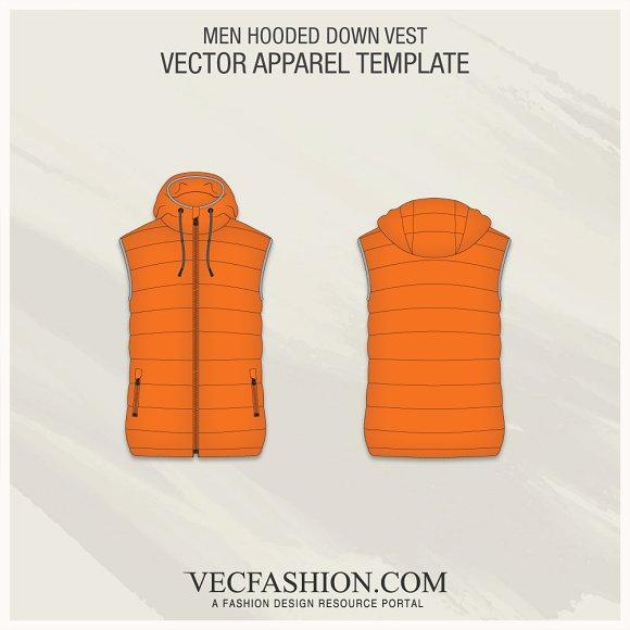 men hooded down vest fashion flat illustrations creative market