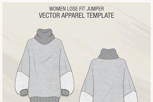 Women Lose Fit Sweater Fashion Flat