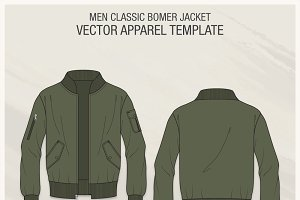 Classic Bomber Jacket Fashion Flat