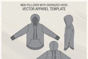 Men Pullover with Oversized Hood