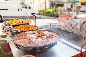 Fresh Paella At A Market In Southern France