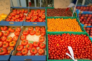 Fresh Tomatoes At A Market In Southern France