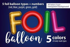 Foil font. Balloon type.