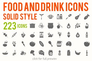 223 vector food and drink icons set