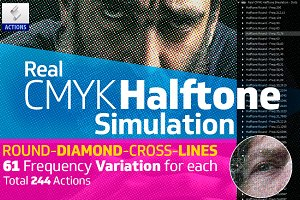 Real CMYK Halftone Simulator Actions