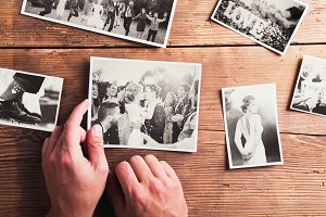 Wedding photos on a table