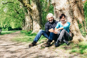 Senior Couple Resting In A Park, Tuebingen